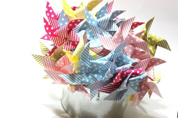 Pinwheel party favors (5) - pixy sticks - birthday party, baby shower, bridal shower, wedding favor
