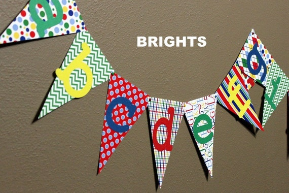 Alphabet banner great for kids rooms playrooms by onefineparty for Letters for kids rooms