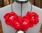 Versatile Red Roses Statement Brooch/Necklace