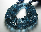 8 Inches - Very Very Finest --- RARE -- AAA - London Blue Topaz Micro Faceted Rondelles  - Size -9--8.5mm Approx --REDUCE FROM 227.44