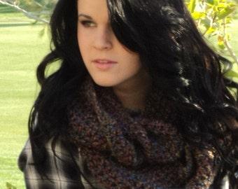Crochet infinity scarf/ crochet infinity scarf gift/brown crochet scarf/knit scarf/woman
