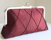 Red Wine Silk Clutch with Pintuck Pattern