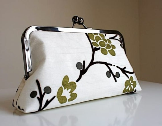 Green Cherry Blossoms on Brown Velvet Twigs- Creamy Silk Clutch