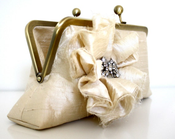 Ivory Ruched Flower Bridal Clutch with Vintage Rhinestone Sparkle- Beach Wedding