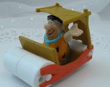 Vintage Cake Topper Fred Flintstone in Flintmobile