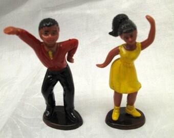 Set Vintage Cake Toppers Guy Girl Disco Dancers