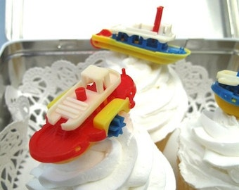 6 Vintage Cake Cupcake Toppers Boats