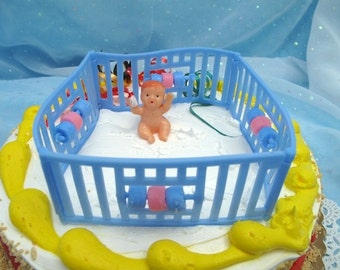 Set 2 Vintage Baby in Playpen Cake Toppers Baby Shower Cake