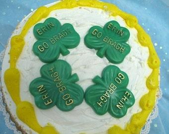 4 Vintage St Patricks Day Shamrock Cake Cupcake Toppers