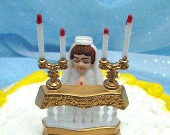 Vintage Cake Topper First Communion Girl Religious