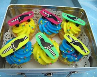 6 Vintage Skateboard Cake Cupcake Toppers