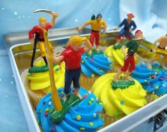 Set 6 Vintage Cake Cupcake Toppers Robinson Crusoe Pirates