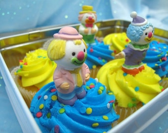 3 Vintage Clown Cake Cupcake Toppers
