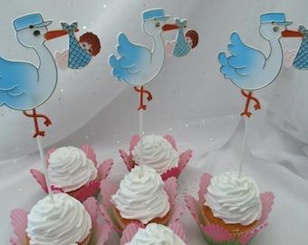 3 Stork Baby Boy Shower Cake Cupcake Toppers Floral Picks
