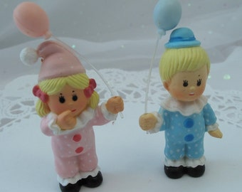 2 Vintage Birthday Kids Boy and Girl Cake Cupcake Toppers