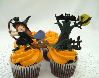 2 Sets Halloween Cake Cupcake Toppers Vintage 2 Witches 2 Spooky Trees