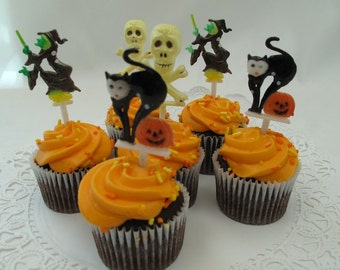 12 Halloween Cupcake Cake Topper Picks Skulls Witches Black Cats