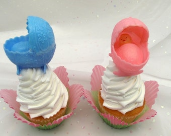 2 Babies in Bassinets Cupcake Cake Toppers Vintage Baby Shower New Baby
