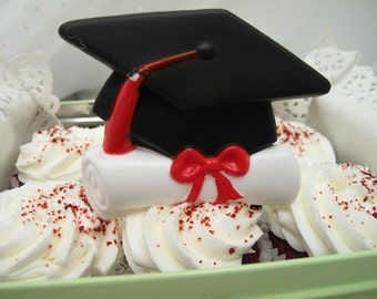 3 Vintage Cake Toppers Graduation Cap and Diploma