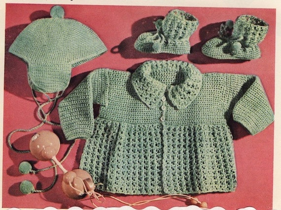 Vintage Crochet Pattern Baby Sweater Booties Hat pdf Digitally Restored