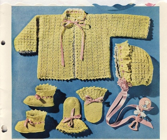 Vintage Crochet Pattern Baby Set Sweater Hat Booties pdf Digitally Restored
