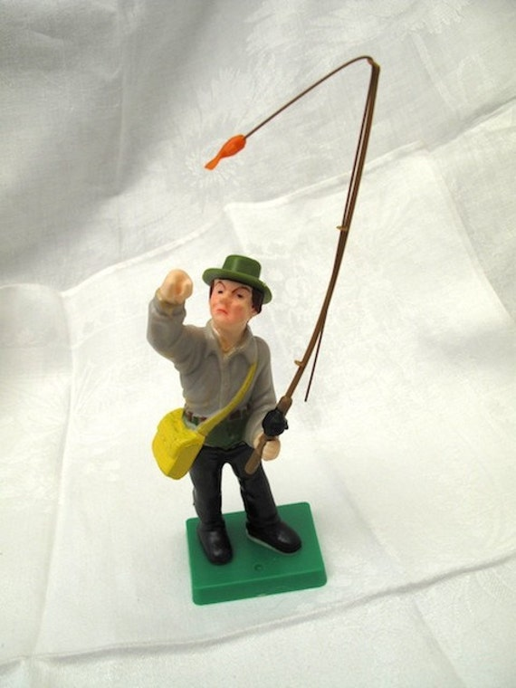 Vintage cake topper fly fisherman fishing wilton 1978 for Fishing cake topper