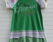 The Little Green Dress-Upcycled Cap Sleeve Dress- size 6/7