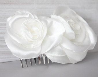 Bridal light ivory satin 2 flower comb, headpiece, fascinator