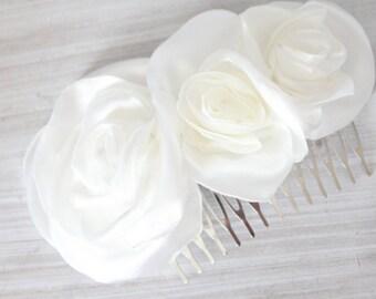 Bridal light ivory satin 3 flower comb, headpiece, fascinator