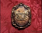 Steampunk aged Butterfly pocket mirror
