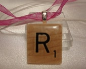 R Initial Scrabble Tile Pendant Necklace