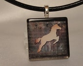 Horse Glass Tile Pendant Necklace