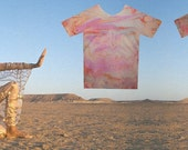 T Shirt - Hand Marbled- Horzontal Psychedellic Design