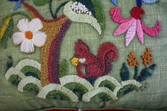 SALE: Vintage embroidered linen pillow