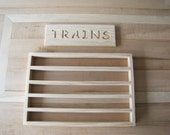 "Wooden train storage rack with ""Trains"" sign combo pack"