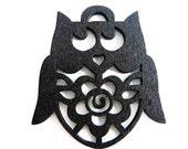 4pcs Wonderful Black Owls With Flower Wooden Charm 50x40mm