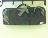 Camouflage print Flat iron/Curling iron case and mat in green, brown and black.