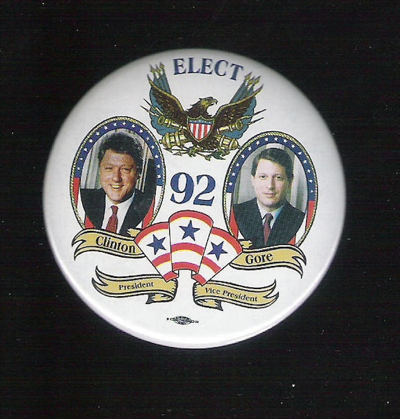 Authentic Clinton Gore Presidential Campaign Button  I Feel Your Pain