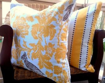 20x20 COVERS Decorative Pillow Cushion Premier Prints Yellow and Taupe Birdie Barber Lulu Stripe Slub Parakeet, Parrot