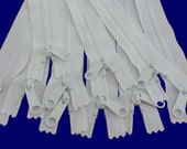 Ten 22 Inch White YKK Long Pull Handbag Purse Zippers