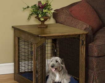 Wooden Dog Crate End Table Chew Proof Pet Furniture Solid Wood Amish Made