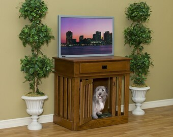 Entertainment Center Wooden Dog Crate Dog Puppy Crate By Amish Extra large .