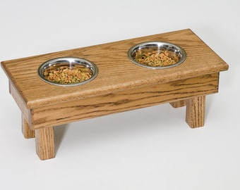 Elevated Dog Feeder Dish Stainless Steel Bowls 15 Inches Wood Oak