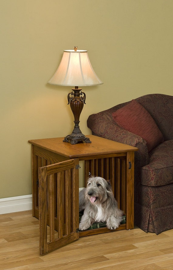 Dog Crate End Table~ Wooden Dog Furniture~ Made by Amish Craftsman.Oak Wood