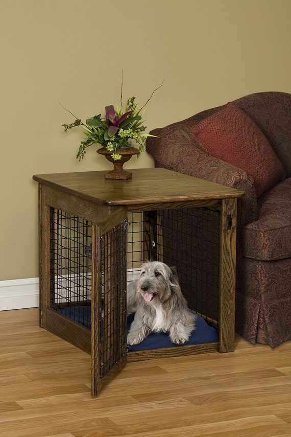 Amish craftsman wooden end table dog crate puppy by pinnaclewc for Amish wooden dog crates