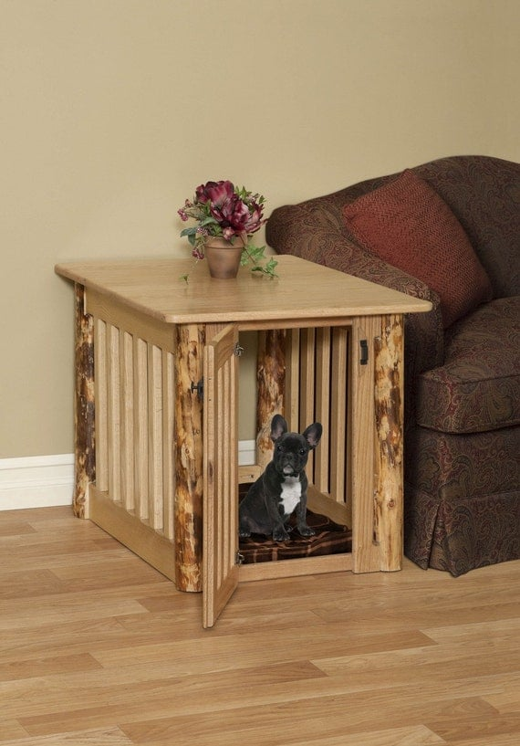 Great Wooden Dog Crate End Table With Rustic Log Post Oak Wood