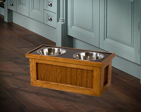Dog Feeder High Elevated Raised Food Bowl Feed Oak By