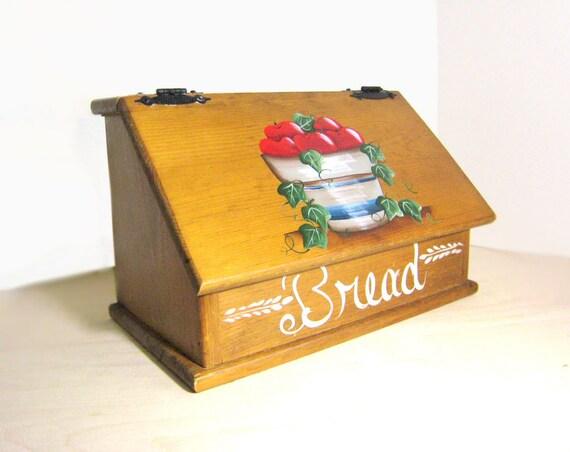 Items similar to vintage wooden bread box apple bushel for Vintage apple boxes