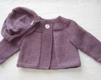 Beautiful Daisy Swing Cardigan and Cheeky Beret.....Hand Knitted in New Zealand... AVAILABLE to POST NOW