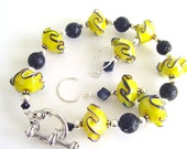 FREE SHIPPING YELLOW Glass Rondelles And Black Lava Beads Bracelet And Earrings Set